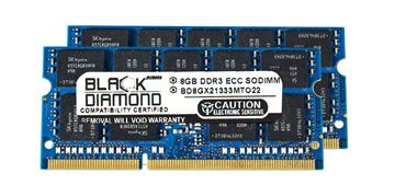 Picture of 16GB Kit (2x8GB) DDR3 1333 (PC3 10600) ECC SODIMM Memory 204-pin (2Rx8)