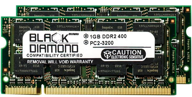 Picture of 2GB Kit (2x1GB) DDR2 400 (PC2-3200) SODIMM Memory 200-pin (2Rx8)
