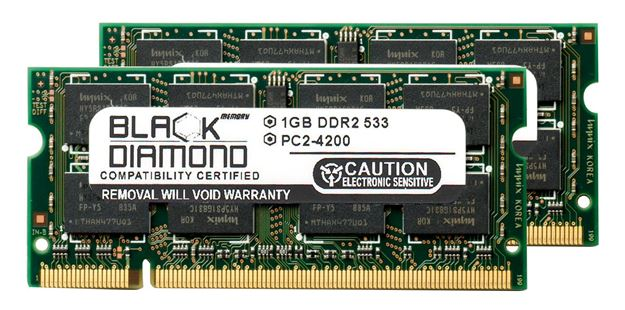 Picture of 2GB Kit (2x1GB) DDR2 533 (PC2-4200) SODIMM Memory 200-pin (2Rx8)