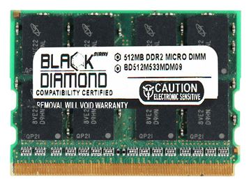 Picture of 512MB DDR2 533 (PC2-4200) Micro-Dimm Memory 172-pin (2Rx16)