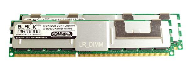Picture of 64GB Kit (2x32GB) LRDIMM DDR3 1600 (PC3-12800) ECC Registered Memory 240-pin (4Rx4)