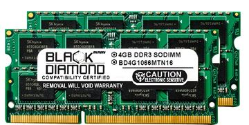 Picture of 8GB Kit(2x4GB) DDR3 1066 (PC3-8500) SODIMM Memory 204-pin (2Rx8)